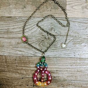 Betsey Johnson Rainbow Snake Bronze Chain Necklace
